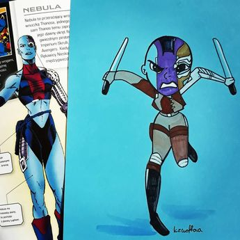 Two more  #art #cartoon #chibi #chiboart #chibistyle #conceptart #dailydoodle #disney #disneyart #disneyfanart #draw #drawing #drawingoftheday #fanart #herotober #illustration #ink #inkand1color #inktober #inktober2019 #marvel #marvelart #marvelfanart #sketch  #nebula #guardiansofthegalaxy #gotg