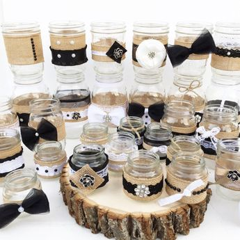 set of 30 shabby chic mason jars rustic centerpieces black and white centerpieces