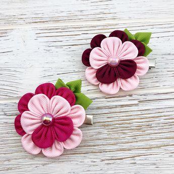 Pink Flower Hair Clip, Kanzashi flower hair clip, Small flower hair clip