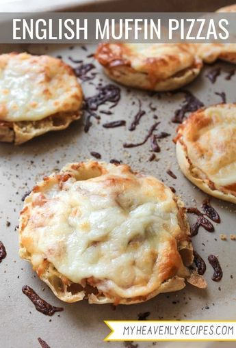 English Muffin Pizzas are the perfect lunch for school days! #MyHeavenlyRecipes  #Lunch #Pizza #KidFriendly