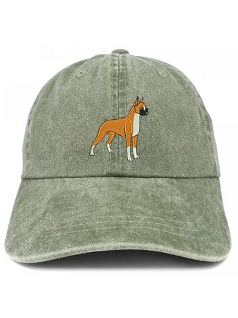 2b044df8224 Boxer Embroidered Dog Theme Low Profile Dad Hat Cotton Cap - Olive -  C3185LTMHWS