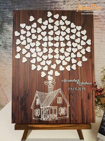 Up House Disney Theme Wedding Guest Book , Alternative Guestbook, Wedding, Bridal Shower, Fairy tale Wedding, Sign in, 3D, hearts, Up Movie