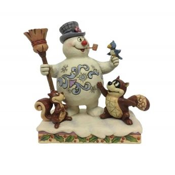 Jim Shore Frosty the Snowman And Woodland Friends Christmas Figurine 6001583, Grey