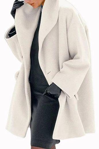 Solid Lapel Side Pockets Casual Coat