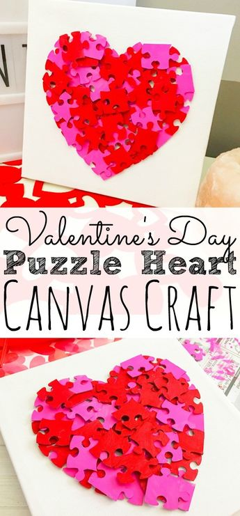 Valentine's Day Puzzle Heart Canvas Craft