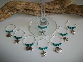 beach theme wedding wine glass charms bridesmaid bridal shower favor beach party favors