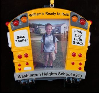 School Bus Frame - 1st Day 5th Grade Christmas Ornament Personalized