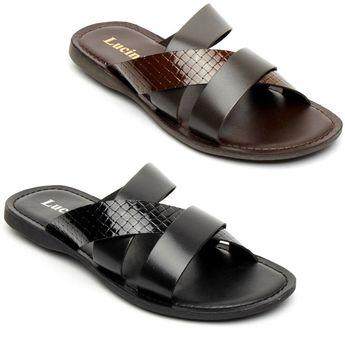 Lucini Mens Casual Genuine Leather Sli on Mule Sandals Slipper Summer Beach Wear