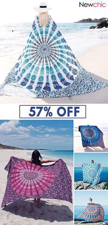 59x83'' Bohemian Style Thin Chiffon Beach Yoga Towel Mandala Rectangle Bed Sheet Tapestry.