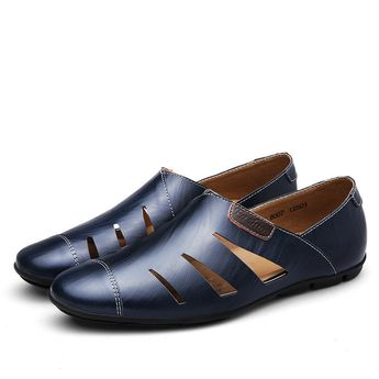 Men Hole Breathable Leather Sandals Cap-toes Slip On Casual Shoes