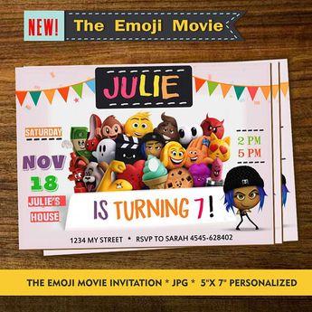 EMOJI INVITATION Emoji Invitationes Birthday Invitation Personalized Invite
