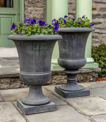 Kinsey Garden Decor Paris outdoor Tall Urn Goblet Planters for patio, front door or driveway entrance container gardening ideas