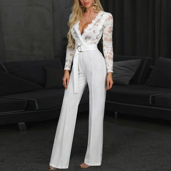 Sexy lace long sleeve stitching trousers jumpsuit
