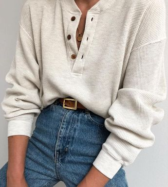 casual white long sleeves with buttons and high waist jeans. Visit Daily Dress Me