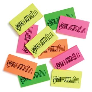Pack of Five Music Erasers at The Music Stand