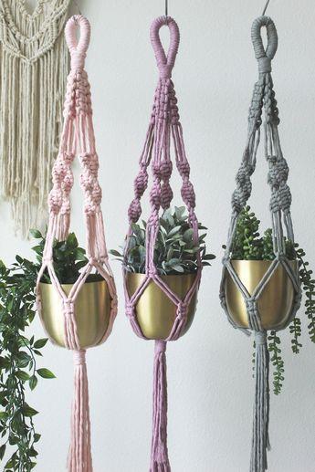 Pink, Purple, or Sage Macrame Plant Hangers, Colorful Plant Holder