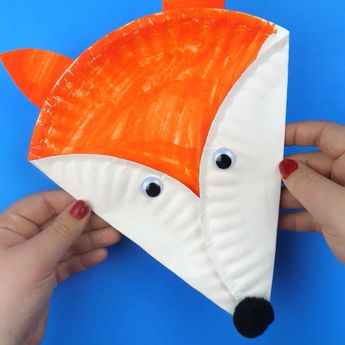 Make a fun paper plate fox craft with the kids. Fox art project. Easy paper plate craft to make.