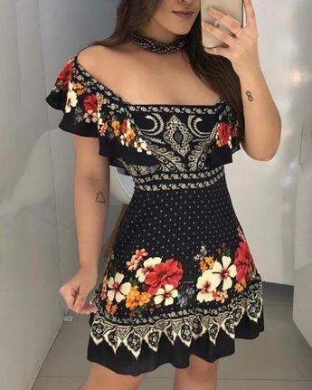 Off Shoulder Floral Print Ruffles Dress