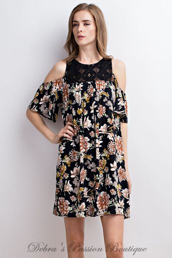 fae2b34dbf Debra s Passion Boutique  debrasboutique. 2y 1. Lace Open Shoulder Black  Floral LLove Dress
