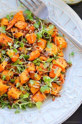 Roasted acorn squash, microgreens, and quinoa salad | chef de home