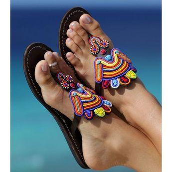 AFRICAN SANDALS, Women Sandals, Leather Sandals, Greek Sandals, Tribal Sandals, Summer Sandals, Beaded Sandals, Flat Sandals,Women Shoes