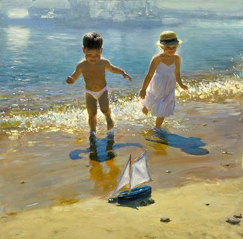 oil painting girl and boy at the beac h with sailboat