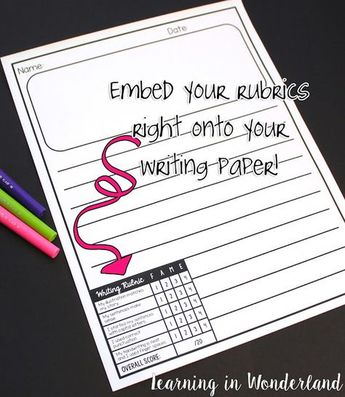 Save time by embedding your rubrics onto your writing paper! Great writing templates with editable rubrics. No more cutting and stapling them onto writing samples!