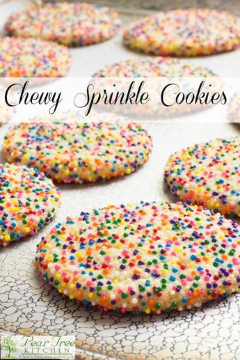 Soft and chewy sprinkle cookies are easy to make and beautiful to look at.  Color coordinate to match the holiday or party theme.  #recipe #cookie #birthday #sprinkles #party #kidfriendly #beginner