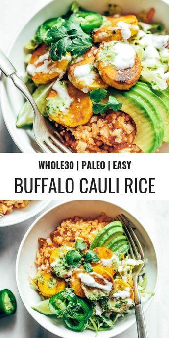 Spicy Cauliflower Rice Plantain Slaw Bowls - Paleo Gluten Free Eats
