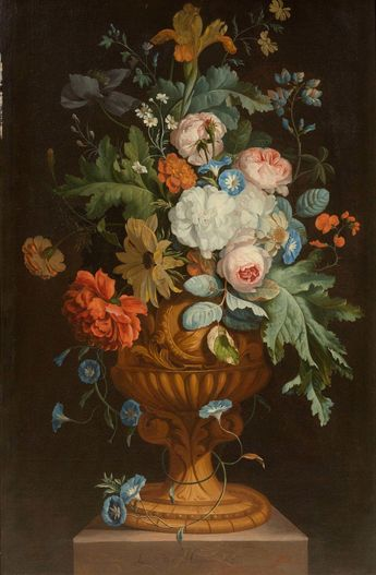 Huysum, Jan van (1682 Amsterdam 1749) Still life of flowers in a grand goblet on a stone plinth. 1707. Oil on canvas. Signed and dated center bottom on the stone plinth: Jan van Huysum 1707.