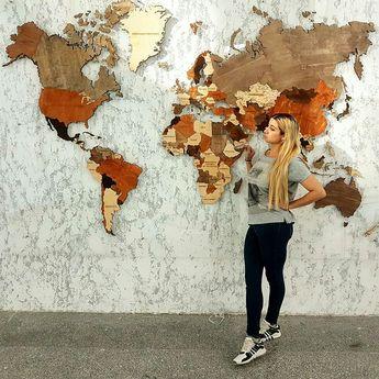 Карта мира из дерева map wood