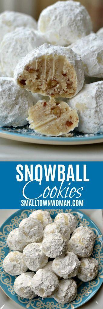 Snowball Cookies | Russian Tea Cakes | Mexican Wedding Cookies | Christmas Cookies | Cookies |  Sand Tarts | Pecan Snowball Cookies | Buttery Snowball Cookies | Small Town Woman #snowballcookies #russianteacakes #smalltownwoman via @bethpierce0151