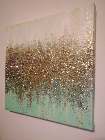 Handmade Abstract Glitter Painting Custom Modern Chic Home Decor Mint Blue Green Gold