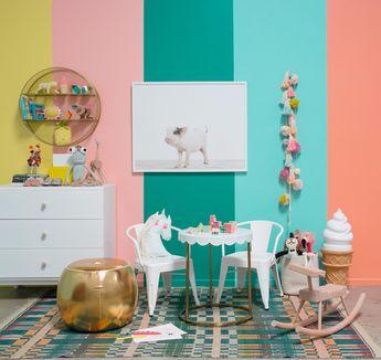 a rainbow striped room