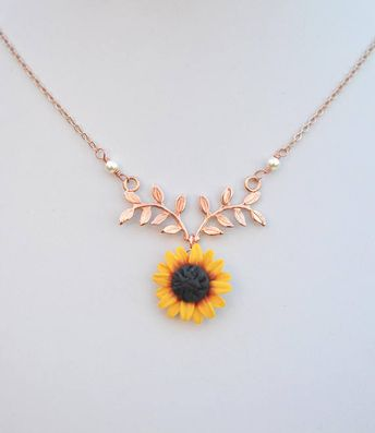 ORIGINAL Red Yellow Sunflower and Leaf Branch Necklace. Leaf Branch and Flower Drop Necklace. Authentic Athena Sunflower Necklace