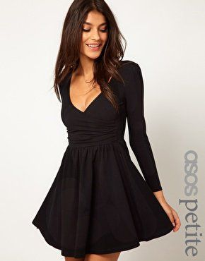 8869a5d9a356 Denise3988 s save of ASOS PETITE Exclusive Long Sleeve Skater Dress With  Ballet Wrap at asos.