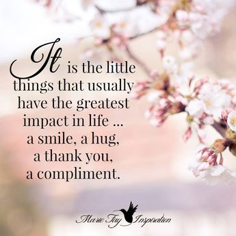 It is the little things that usually have the greatest impact in life - a smile, a hug, a thank you, a compliment