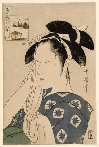 "The Asahiya Widow, from the series ""Renowned Beauties Likened to the Six Immortal Poets"" (""Komei bijin rokkasen"""