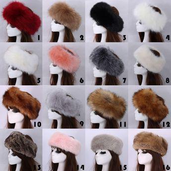6bd776a0372 Universal Ladys Russian Tick Fluffy Fox Fur Hat Headband Winter Ski Hat
