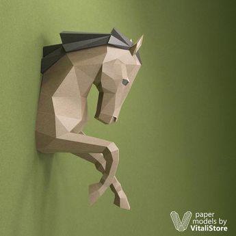 Horse Papercraft, Horse Paper Trophy, Wall Decor #Diyshirt