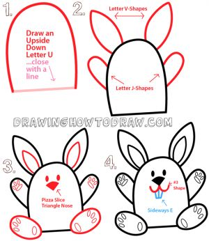 31a8c8bc0f Big Guide to Drawing Cartoon Bunny Rabbits with Basic Shapes for Kids    Preschoolers