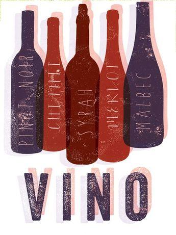 Vino Bottles graphic culinary art illustration signed artist's print 12 x 16
