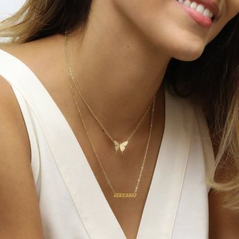 Butterfly Chokers Necklace Butterfly Necklace Layered Choker Necklace Set Dainty and Gold Teacher Gift Minimalist Nature Accessories -SBFN