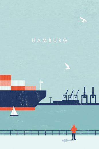 Hamburg travel poster by Katinka Reinke - #Hamburg #Katinka #plakat #Poster #Reinke #Travel