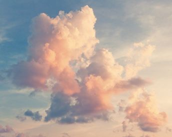 Pink clouds against a blue sky Self-Adhesive Wall Mural • Pixers® - We live to change