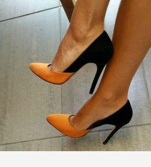 Orange and black stilettos