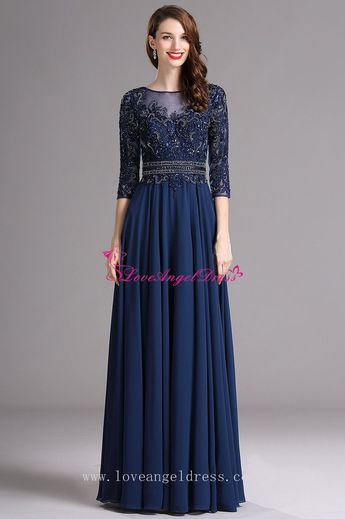d8d450498ab A-line Blue Chiffon Dazzling Beaded Mother Wedding Guest Dresses with  Sleeves