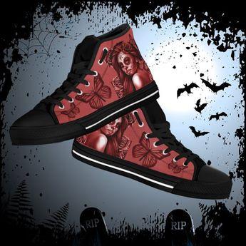a55108beb078 Calavera Women s High Top Canvas Shoes - Day Of The Dead   Dia De Los  Muertos