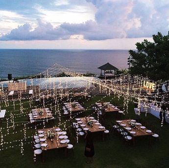 Fairy light canopy looks awesome!  And with that beautiful ocean view, not sure anyone will care...