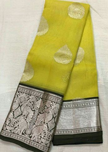 a2cdb72a40 Pure Allover Hand Weaving Silver Meena Buta Kanchi Kora Pattu Sarees With  Heavy Kanchi Brocade Pallu